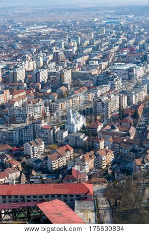 aerial  view of the city Deva from Romania