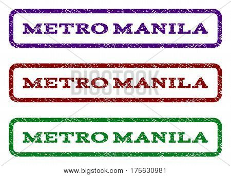 Metro Manila watermark stamp. Text tag inside rounded rectangle frame with grunge design style. Vector variants are indigo blue, red, green ink colors. Rubber seal stamp with dirty texture.