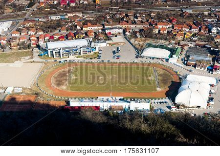 Deva, Romania, March 4, 2017 the footbal field of the Deva city in an aerial view from the city citadel