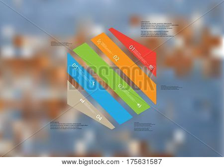 Illustration infographic template with motif of hexagon askew divided to five color standalone sections. Blurred photo with texture motif of worn wooden board is used as background.