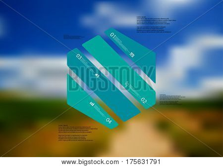 Illustration infographic template with motif of hexagon askew divided to four green standalone sections. Blurred photo with natural motif landscape with cloudy sky is used as background.