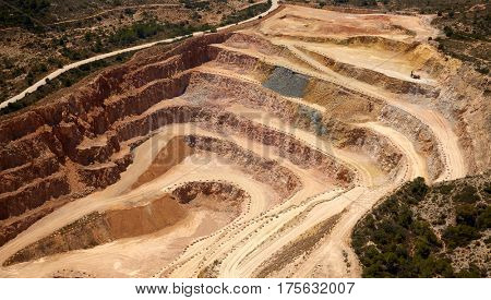 Aerial view of a quarry in Valencian Community of spain