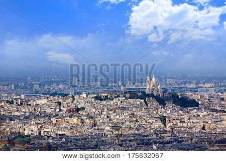 Aerial Paris skyline and Sacre Coeur basilique in France