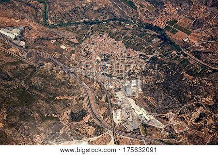 Soneja villaje aerial in Castellon Province of Valencian community at Spain
