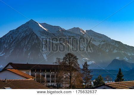 Beautiful Snowy Mountains, Sunny Day In Alps