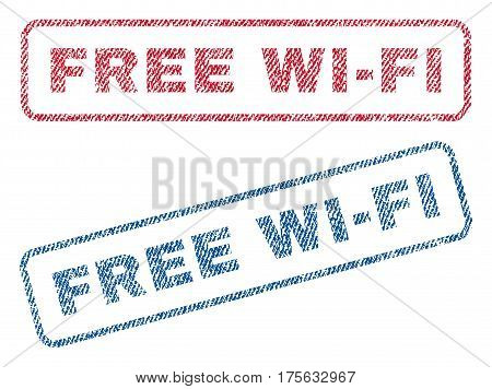 Free Wi-Fi text textile seal stamp watermarks. Blue, red fabric vectorized texture. Vector caption inside rounded rectangular banner. Rubber sticker with fiber textile structure.