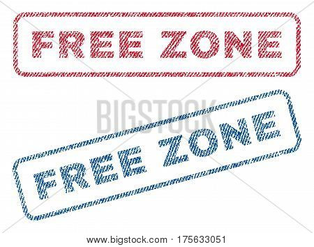 Free Zone text textile seal stamp watermarks. Blue, red fabric vectorized texture. Vector tag inside rounded rectangular shape. Rubber sign with fiber textile structure.