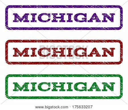 Michigan watermark stamp. Text caption inside rounded rectangle frame with grunge design style. Vector variants are indigo blue, red, green ink colors. Rubber seal stamp with dirty texture.