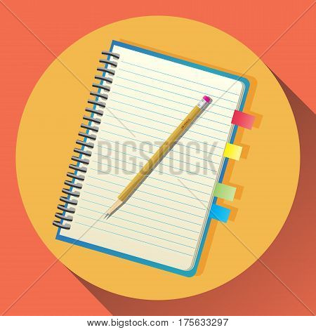 Vector flat icon of notebook with spiral and neon bookmark stickers. Yellow pencil is laying on top.