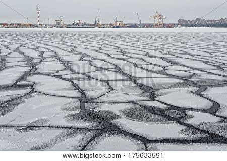Cracks in the ice of the Gulf of Finland. 02/17/2013, Kronstadt, Russia.