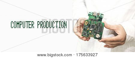 The concept of high computer technologies and innovations. Conceptual image. Technician holding computer card in the hands. Manufacturing. Engineering. Technical support and repair.