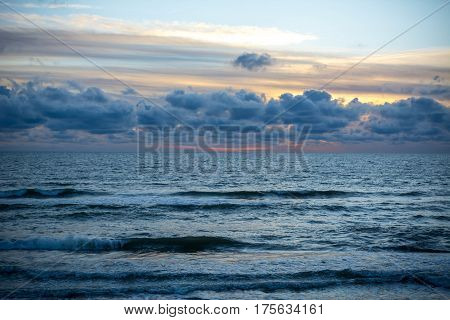 Sunset on baltic beach. Jurmala. Latvia. Dzintari