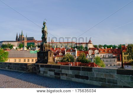 Charles Bridge And Prague Castle In Prague (czech Republic) At Early Morning. No People.
