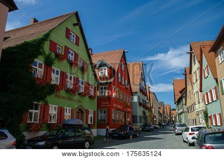 Dinkelsbuhl, Germany - August 28, 2010: Street view of Dinkelsbuhl one of the archetypal towns on the German Romantic Road.