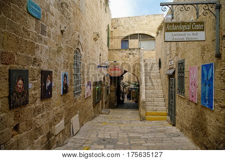 Jaffa, Israel- December 9, 2010: Unique art and antique galleries at narrow streets Old Jaffa.