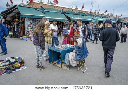 Marrakesh Morocco - March 4 2017: Jemaa el Fna (also Jemaa el-Fnaa Djema el-Fna or Djemaa el-Fnaa) is a square and market place in Marrakesh's medina quarter.