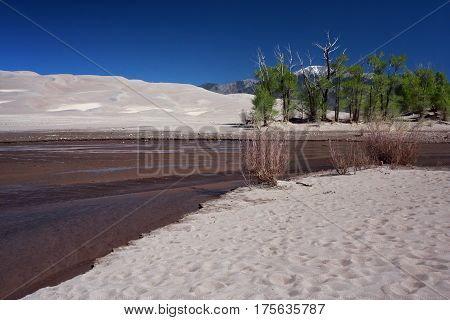 Spring water runoff from winter snows create the Medano Creek in the Great Sand Dunes National park in southern Colorado near Alamosa