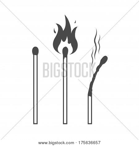 Matches icons, lighted match and burned match. Vector illustration.