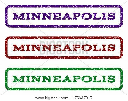 Minneapolis watermark stamp. Text tag inside rounded rectangle frame with grunge design style. Vector variants are indigo blue, red, green ink colors. Rubber seal stamp with scratched texture.