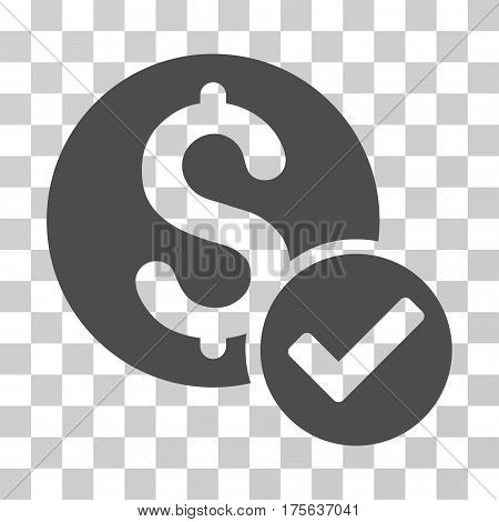 Approved Payment icon. Vector illustration style is flat iconic symbol gray color transparent background. Designed for web and software interfaces.