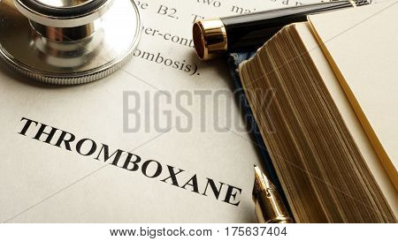 Document with title Thromboxane on a table.