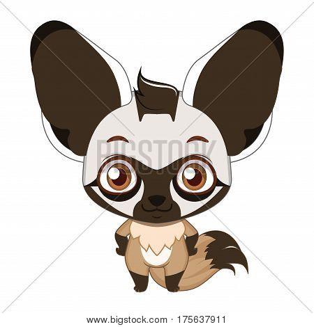 Cute Stylized Cartoon Bat Eared Fox Illustration