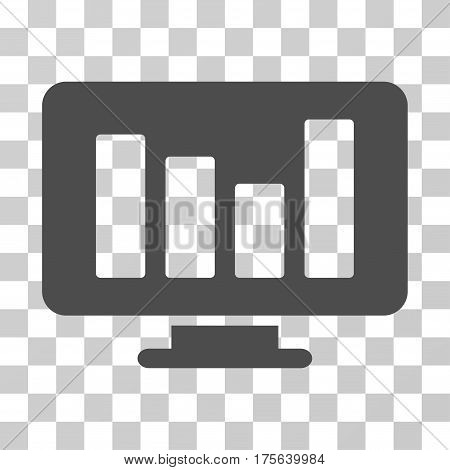 Bar Chart Monitoring icon. Vector illustration style is flat iconic symbol gray color transparent background. Designed for web and software interfaces.