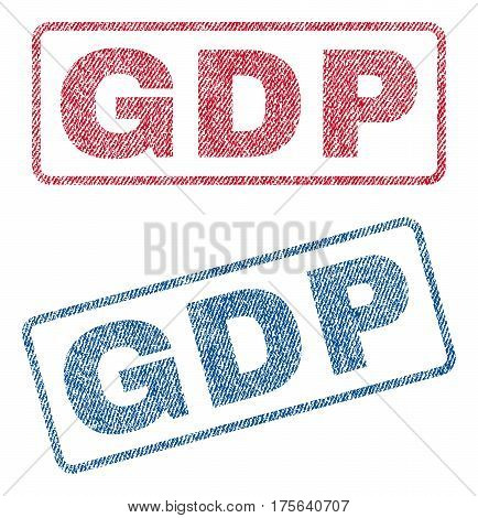 GDP text textile seal stamp watermarks. Blue, red fabric vectorized texture. Vector tag inside rounded rectangular banner. Rubber emblem with fiber textile structure.