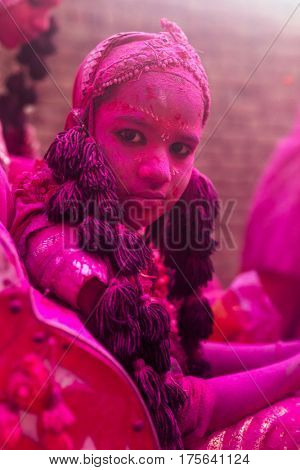 Vrindavan, India. March 19, 2016. Indian children dressed as Hindu deities participate during colourful Holi procession on the streets of Vrindavan, Uttar Pradesh, India.