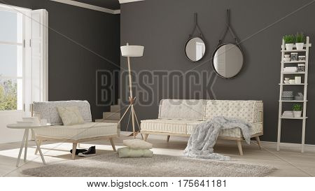 Scandinavian Living Room With Couch, Armchair And Soft Fur Rug, Minimalist White And Gray Interior D