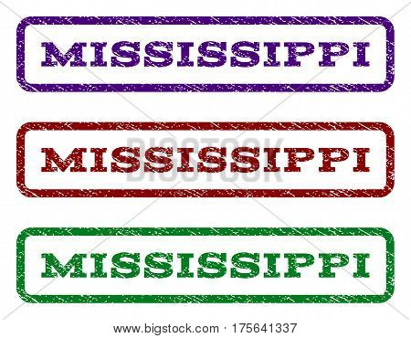 Mississippi watermark stamp. Text tag inside rounded rectangle with grunge design style. Vector variants are indigo blue, red, green ink colors. Rubber seal stamp with dust texture.