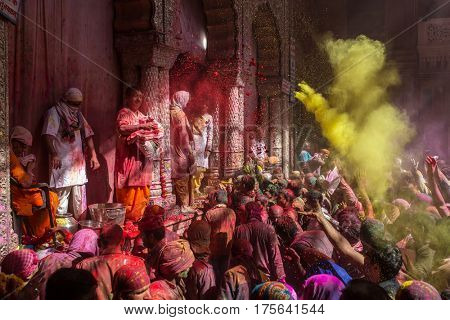 Vrindavan, India. March 23, 2016. Holi celebration in the Hindu Banke Bihare temple in Vrindavan, Uttar Pradesh, India.