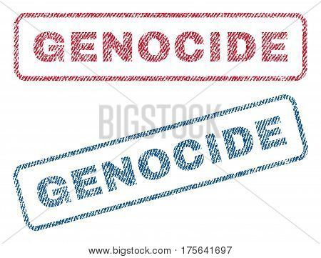 Genocide text textile seal stamp watermarks. Blue, red fabric vectorized texture. Vector tag inside rounded rectangular banner. Rubber sign with fiber textile structure.