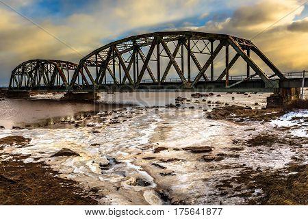 Famous broken bridge in Sackville, New Brunswick, Canada.