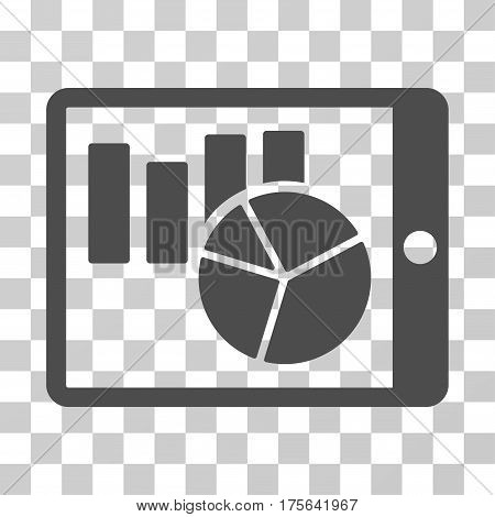Charts On PDA icon. Vector illustration style is flat iconic symbol gray color transparent background. Designed for web and software interfaces.