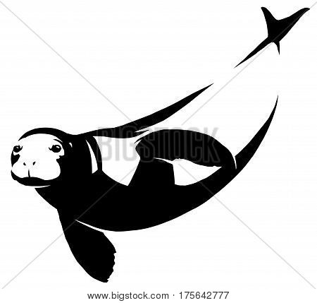 black and white linear draw Navy seal illustration