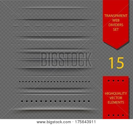 Set of semitransparent web dividers and shadow isolated on transparent background. Vector translucent delimiter effect illustration