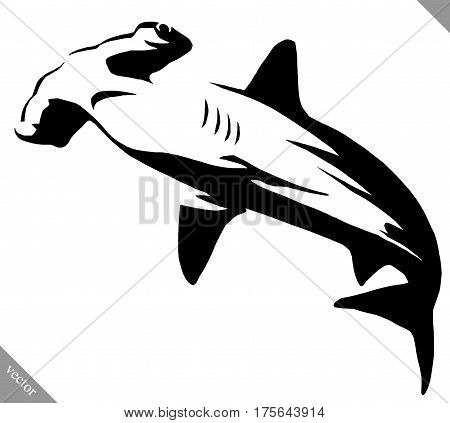black and white linear draw hammerhead illustration