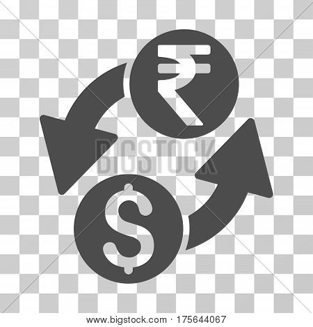 Dollar Rupee Exchange icon. Vector illustration style is flat iconic symbol gray color transparent background. Designed for web and software interfaces.