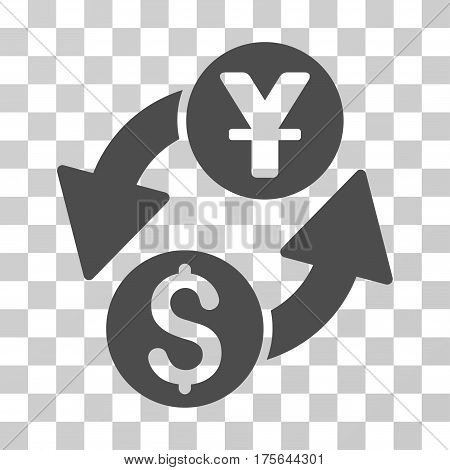 Dollar Yuan Exchange icon. Vector illustration style is flat iconic symbol gray color transparent background. Designed for web and software interfaces.