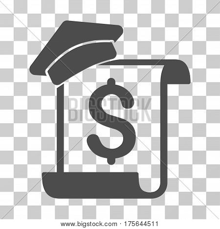 Education Invoice icon. Vector illustration style is flat iconic symbol gray color transparent background. Designed for web and software interfaces.