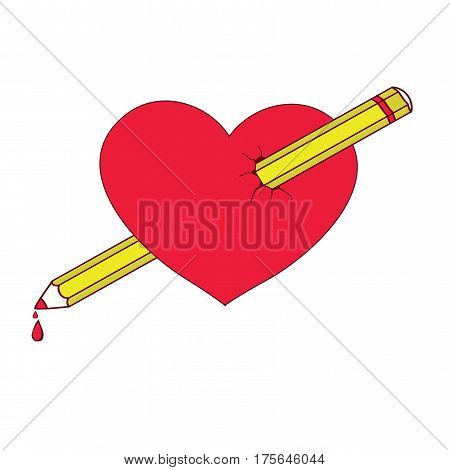 Heart pierced with a pencil. Vector illustration. Lovestruck or arrow through heart flat icon for apps and websites. Template for Valentine day.