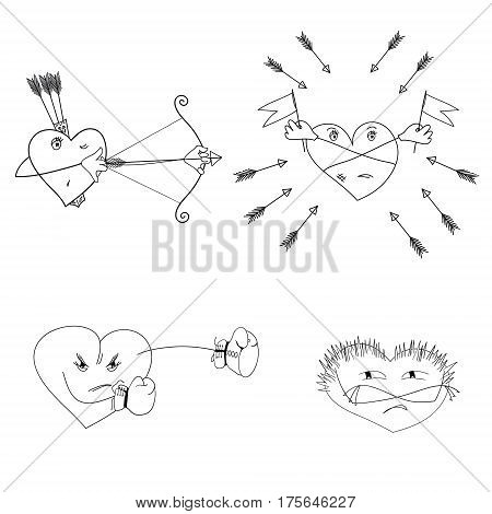 Set of hearts with different emotional state. Original vector illustration with a wide range of applications
