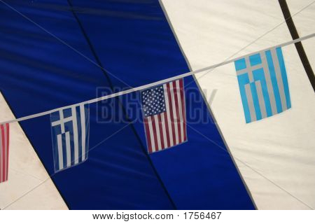 Usa And Greek Flags