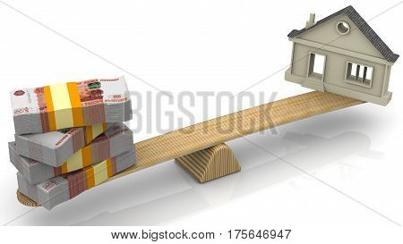 Valuation of real estate. Money (stack of packs of 5000 Russian rubles bills tied with a ribbon) and the symbol of the house weighed in the balance. Financial concept. Isolated. 3D Illustration