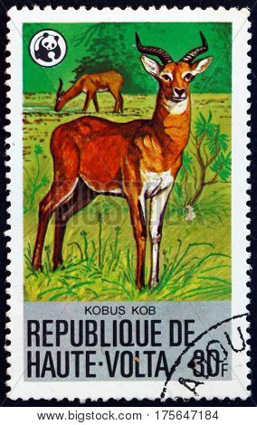BURKINA FASO - CIRCA 1979: a stamp printed in Burkina Faso shows Waterbuck kobus ellipsiprymnus is a large antelope circa 1979