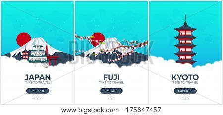 Japan. Time To Travel. Set Of Travel Posters. Vector Flat Illustration.