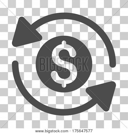 Money Turnover icon. Vector illustration style is flat iconic symbol, gray color, transparent background. Designed for web and software interfaces.