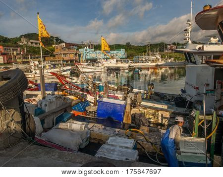 Fuji Taiwan - October 03 2016: Anchors nets buoys and other equipment for fishing on a fishing boat