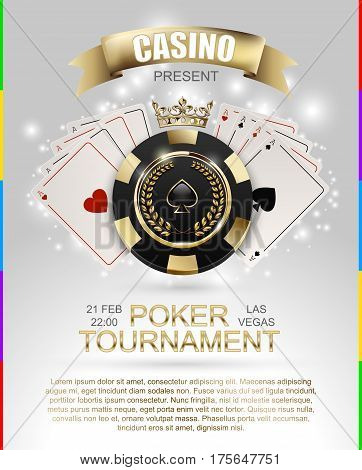 VIP poker luxury black and golden chip golden crown with ace card vector casino poster concept. Royal poker club tournament banner with laurel wreath ribbon spade light effect on white background